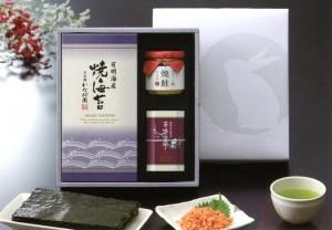 静岡深蒸し銘茶・有明海産焼海苔・焼鮭手ほぐし詰合せ